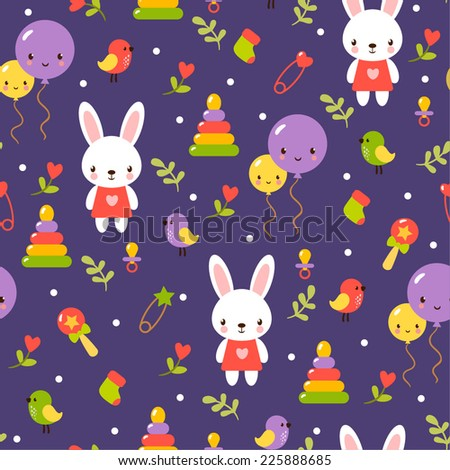 Childish cartoon seamless pattern in vector. Cute baby pattern design. - stock vector