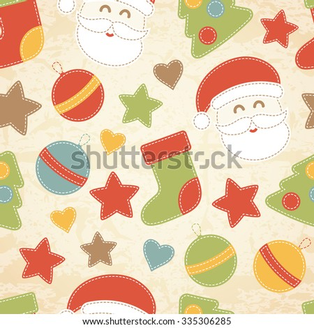 Childish Christmas seamless pattern with Santa Claus, Christmas baubles, Christmas trees and stockings decorated by stars and hearts. Hand-sewn style elements with white seams.  - stock vector