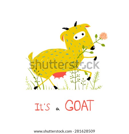 Childish Colorful Fun Cartoon Goat Eating Flower. Funny animal illustration for children. Vector EPS10. - stock vector