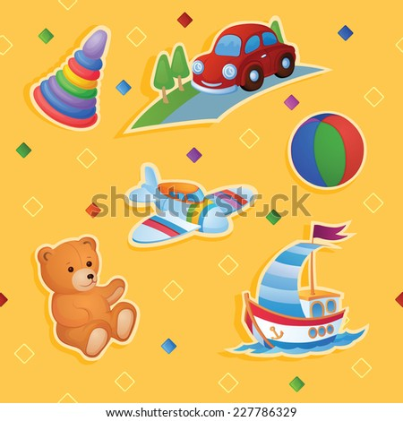 Childish colorful pattern with toys