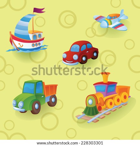 Childish colorful pattern with toys. Toy kinds of transport