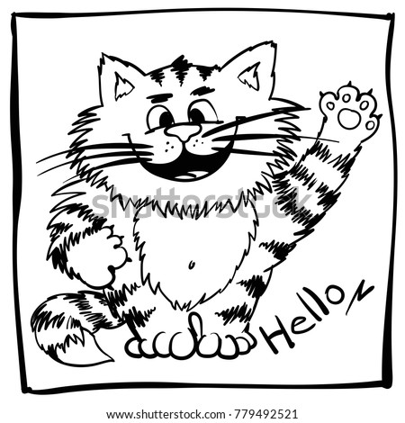 Childish Doodle Happy Cat For Kids Coloring Book Funny Outline Kitty Babyish Commercial