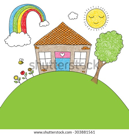 Childish doodle of a little house, rainbow, tree, flowers, bee with space for your text - stock vector