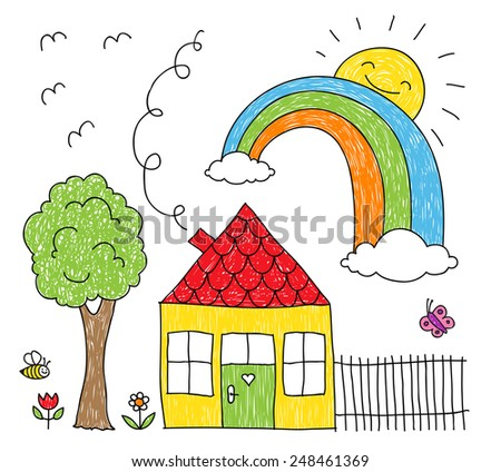 Childish doodle of a rainbow over a little house and a tree  - stock vector