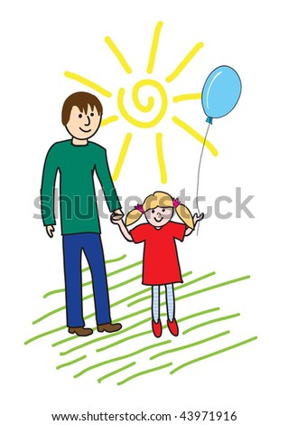 Childish drawing: happy dad and little daughter, vector illustration - stock vector