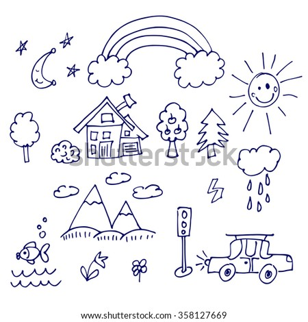 childish funny doodle graphic set. Vector hand drawn sketch of outdoor images - stock vector