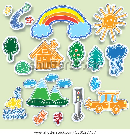 childish funny doodle stickers set. Vector colorful hand drawn labels with outdoor images - stock vector