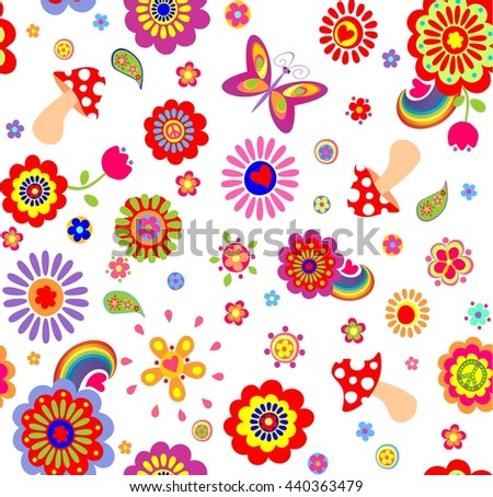 Childish funny wallpaper with hippie symbolic - stock vector