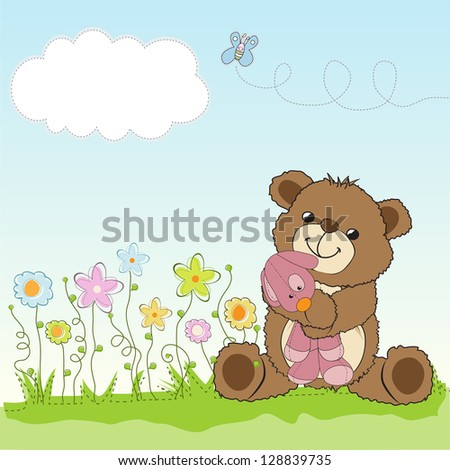 childish greeting card with teddy bear and his toy, vector illustration - stock vector