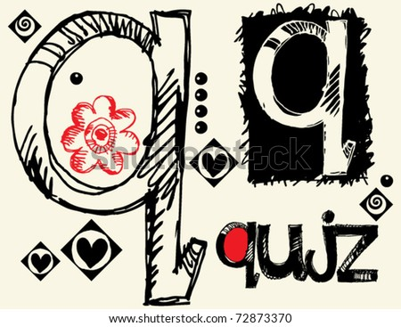 childish hand drawn alphabet, crazy doodle Q - stock vector
