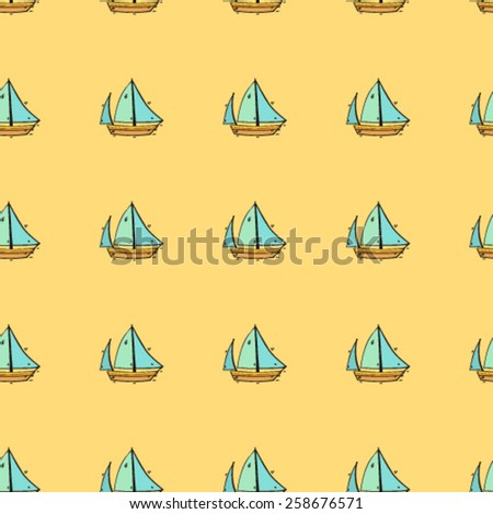 childish hand drawn sea ship arranged in lines stylized vector illustration seamless pattern, design colorful background, ready to use for different surfaces,paper, fabric, textile,covers,etc - stock vector