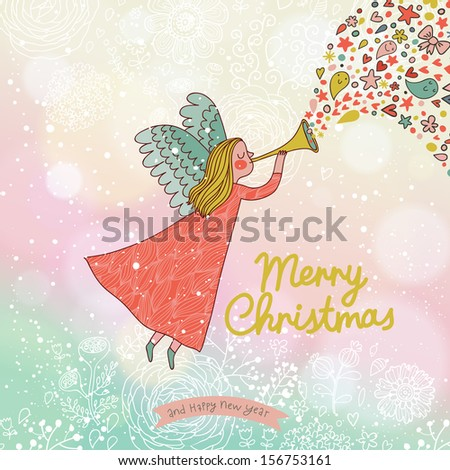 Childish Merry Christmas card in vector. Cute cartoon Fairy in the sky with bokeh effect. Stylish holiday background  - stock vector