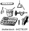 Childish Musical Instruments Doodles - stock vector