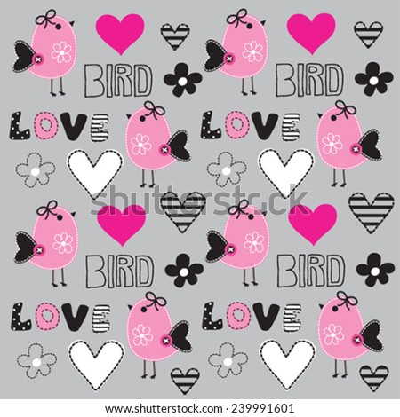 childish pattern with bird and heart - stock vector