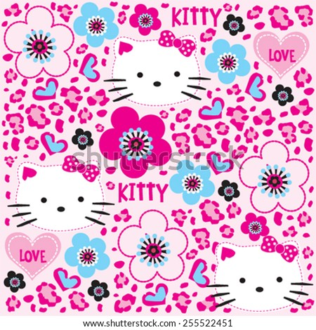 childish pattern with cat vector illustration - stock vector