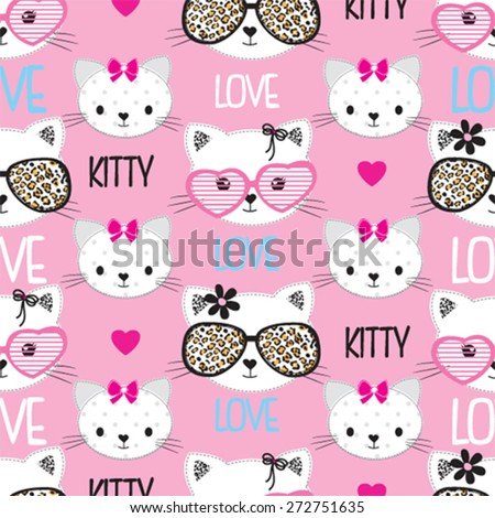childish pattern with cats vector illustration - stock vector