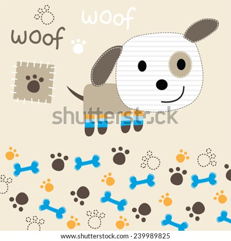 childish pattern with dog and paw and bone - stock vector