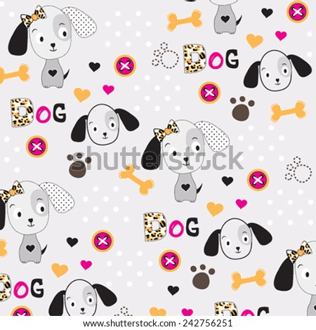 childish pattern with dog vector illustration - stock vector