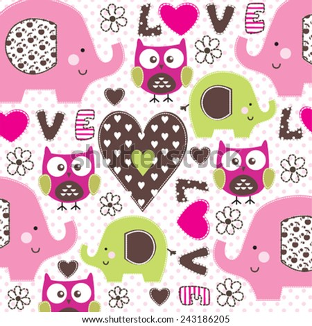 childish pattern with elephant and owl vector illustration - stock vector