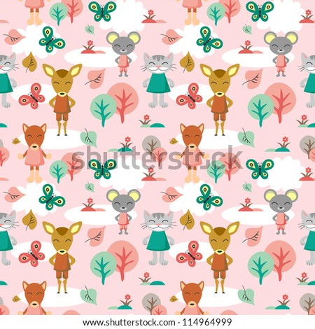 Childish seamless background with animals - stock vector