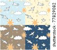 Childish seamless backgrounds with birds - stock vector