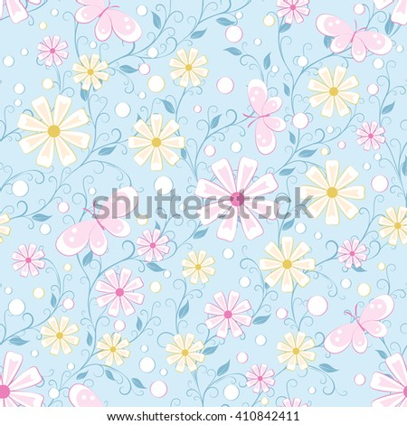 childish seamless pattern with flowers,  butterfly and spots  in soft color on blue background , vector illustration