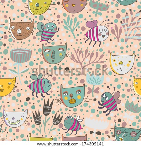 Childish Seamless Pattern With Funny Cats And Bees In Flower Garden Vector Spring Texture