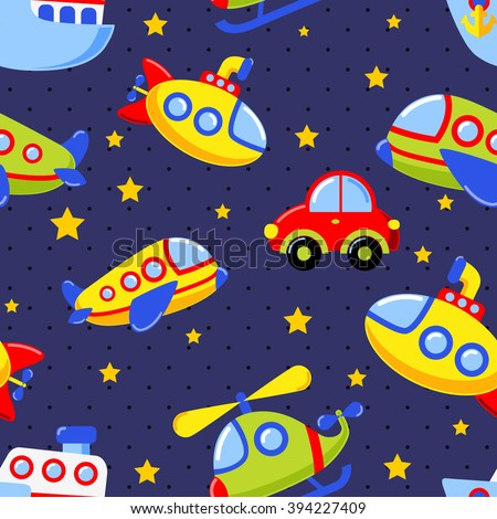 Childish seamless pattern with transport.  Car, submarine, ship, plane, helicopter