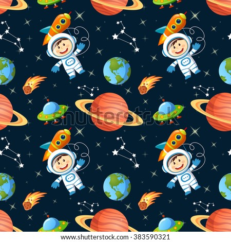 Childish seamless space pattern with astronaut, Earth, saturn, UFO, rockets and stars - stock vector