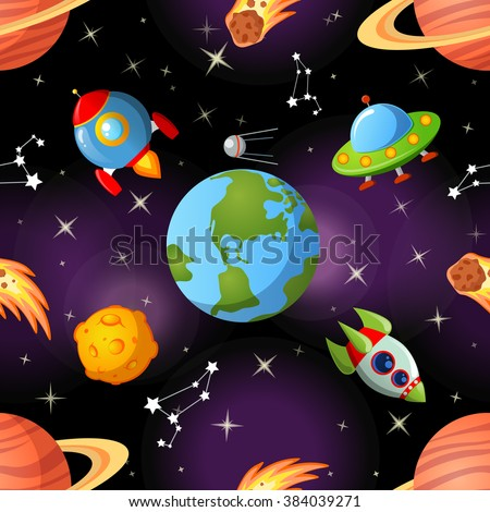Childish seamless space pattern with Earth, saturn, UFO, rockets moon and stars - stock vector
