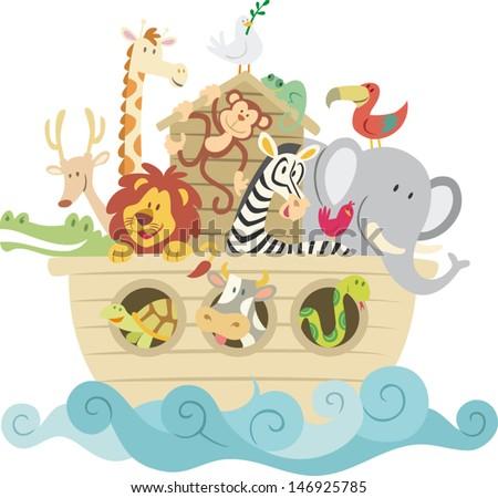 Childish style illustration of Noah's ark on the ocean waves and full of animals aboard (Lion, Chameleon, giraffe, zebra, deer, alligator, toucan, cow, monkey, snake). - stock vector