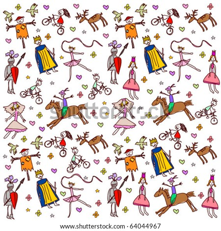 childish style pattern - stock vector