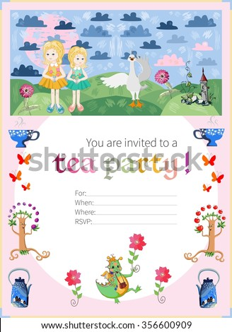 Childish tea party invitation. Cute vector illustration.
