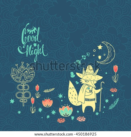 childish vector background with fox. doodle illustration with moon, flowers and cute cartoon character - stock vector