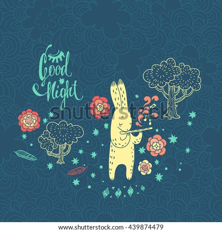 childish vector background with rabbit. doodle illustration with tree, flowers and cute cartoon character - stock vector