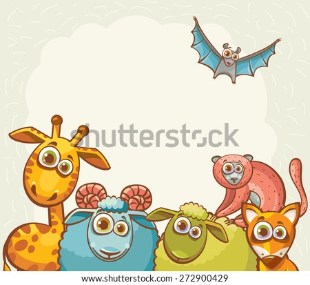 Childish vector illustration. Funny cartoon animals- giraffe, fox, lemur, sheep, ram and bat. - stock vector