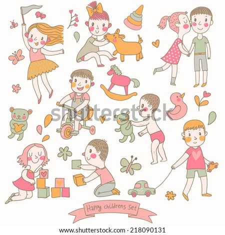Childish vector set in cartoon style. Funny boys and girls playing with toys, riding a bicycle and playing with pets. Cute cartoon vector elements in pastel colors - stock vector