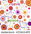 Childish wallpaper with hippie symbolic, colorful abstract flowers and doves - stock vector
