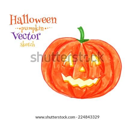 Childlike drawing of Halloween pumpkin. Vector illustration. Isolated. - stock vector