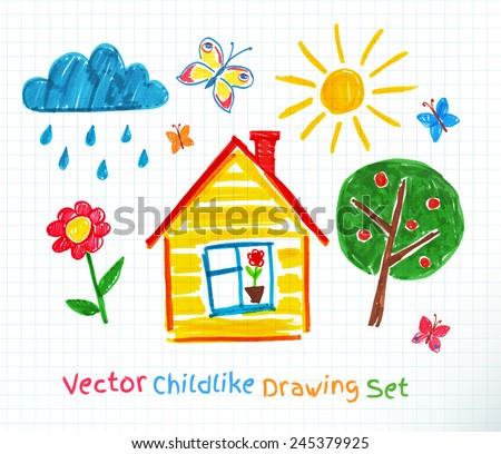 Childlike drawing on school notebook paper. Vector set. - stock vector