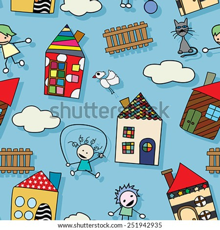 Childlike drawing seamless pattern with houses kids and animals - stock vector
