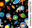 Childlike drawing with astronauts and planets, stars, pattern - stock vector