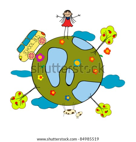 Childlike drawing with little girl, school bus and globe over white background - stock vector