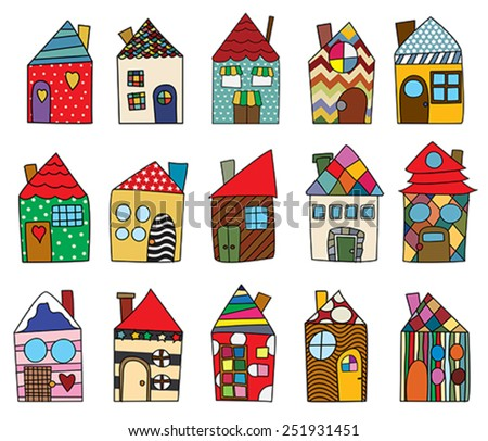 Childlike house drawings collection against white background - stock vector