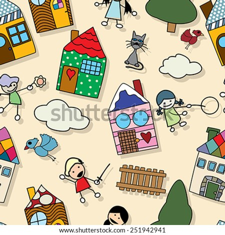 Childlike seamless pattern - stock vector
