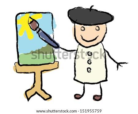 Childlike vector illustration of an artist / painter - stock vector