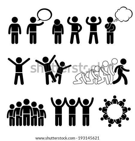 Children Action Pose Welfare Rights Stick Figure Pictogram Icon Cliparts - stock vector