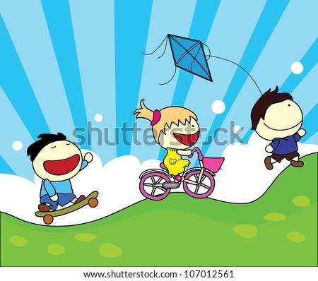 children activity background - stock vector