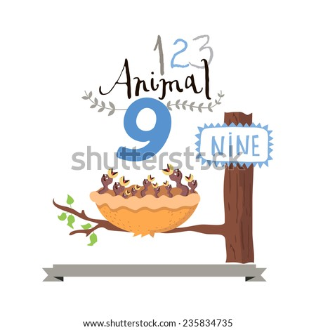 Children alphabet of animals and figures. Number nine. Vector illustration. Part of a large set of vector numbers and animals - stock vector