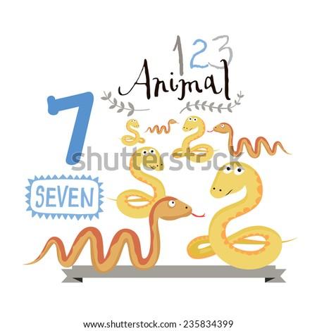 Children alphabet of animals and figures. Number seven. Vector illustration. Part of a large set of vector numbers and animals - stock vector